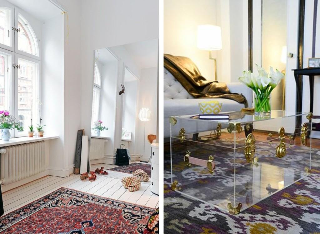 Pienet tilat avartuvat peileillä ja läpinäkyvillä materiaaleilla.