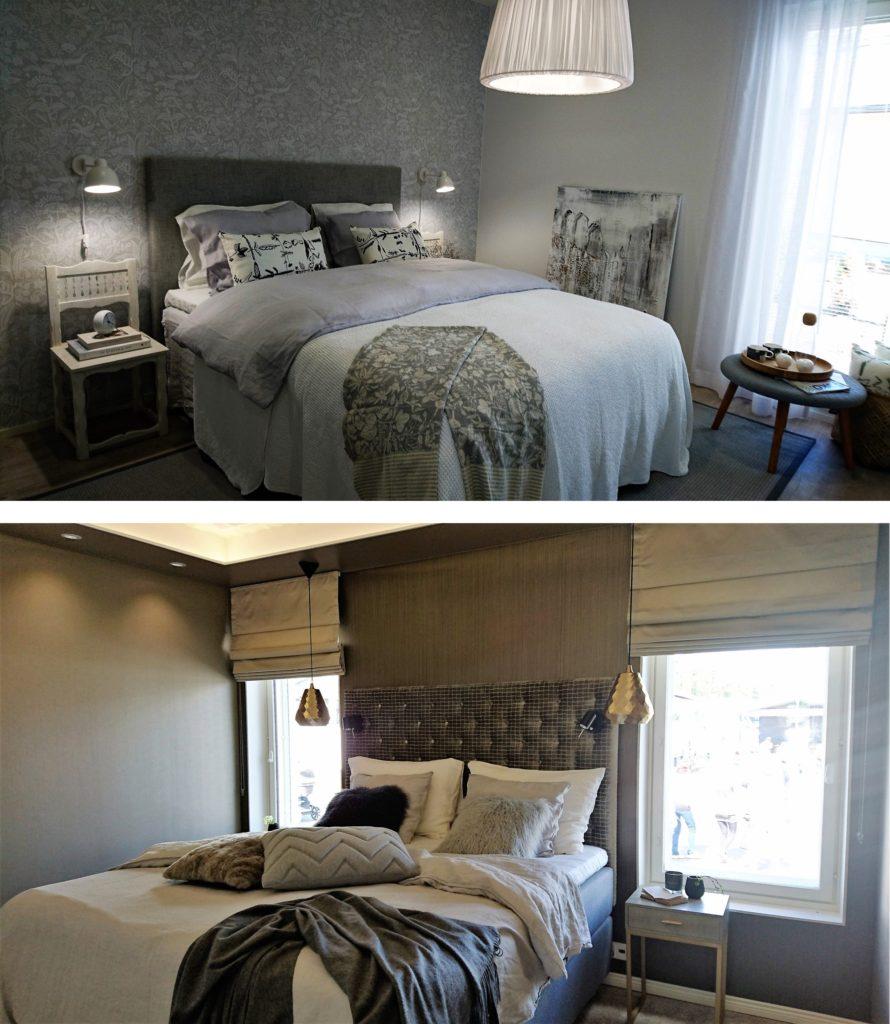 Sisustusinspiraatiota asuntomessuilta: Sängyn päätyyn sekä tekstiileihin panostetaan makuuhuoneen sisustuksessa nyt paljon