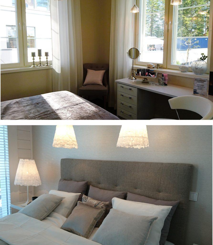 Sisustusinspiraatota asuntomessuilta: Makuuhuoneet olivat tyyliltään runsaita, mutta värimaailmaltaan rauhallisia