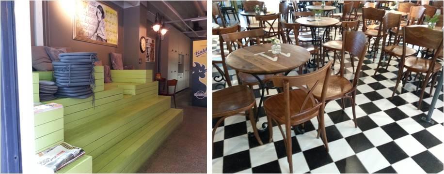 Kahvilan päätyä hallitsee mielenkiintoinen ja moniuloitteinen rakennelma, jonka päällä istuen voi nauttia kahvistaan ja lueskella vaikka päivän lehteä.