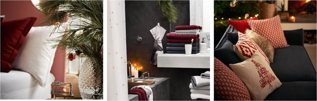 Punaisen ja harmaan eri sävyt ovat valloittaneet H&M homen jouluvalikoimaa.