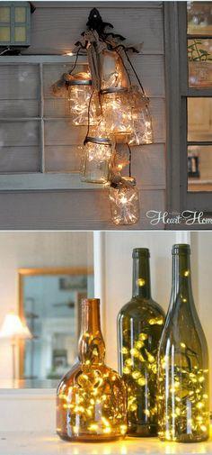 Jouluvalot: valot voi myös purkittaa lasin sisään.