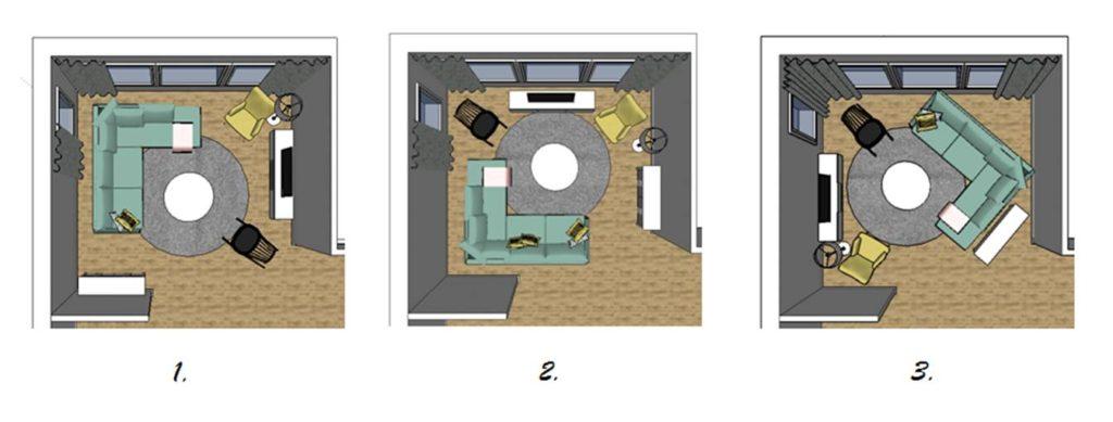 Olohuoneen muutos: Kolme eri järjestystä samoilla kalusteilla.